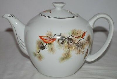 Toukai China Teapot painted with Pine Cones Silver color trim