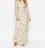 Needle & Thread Lace Embellished Plunge Maxi Dress-Cream-J89-RRP £190.00 UK 6