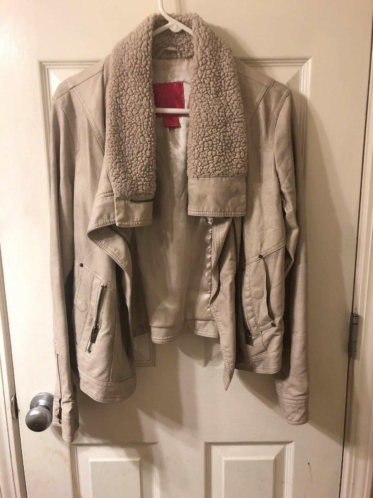 Winter Moto faux leather  faux fur Beige Coat W fur sz L