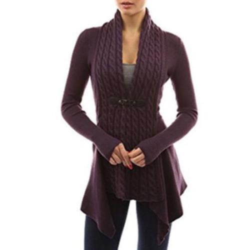 ladies Irregular Knitted Cardigan Sweater Knitwear Coat Jacket Outwear Pullover@