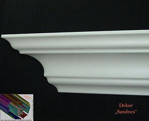 Stuckleisten-Stuckprofil-Stuckleiste-7cm-x-7cm-22-Meter-4-Innenecken-034-Sandnes-034