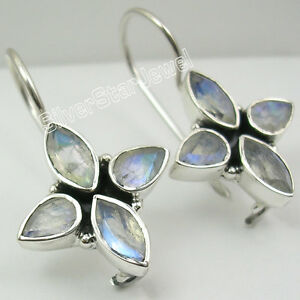 925-Sterling-Silver-Sparkling-BLUE-FIRE-RAINBOW-MOONSTONE-LOVELY-Earrings-1-2-034