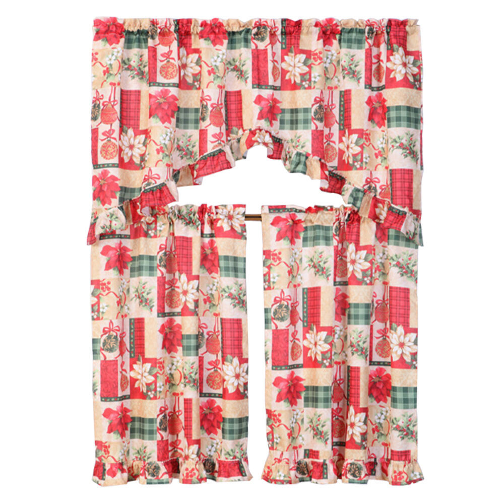 3 Piece Christmas Decorative Kitchen Curtain Set Ruffled
