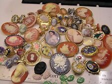 Huge Lot Vtg Cameo Jewelry Brooches Ring Rhinestone Locket Clip on Earrings Lbs