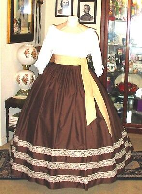 CIVIL WAR DRESS~VICTORIAN STYLE 100/% COTTON SOLID CHOCOLATE BROWN SKIRT /& SASH