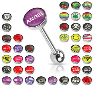 """Tongue Ring Straight Barbell With /""""COCK TEASE/"""" Picture Logo Flat TOP 14g"""