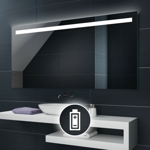 Battery Powered LED Illuminated Bathroom Mirror Battery Operated Custom Size L12