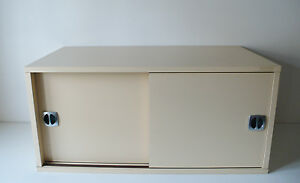 meuble rangement 2 portes coulissantes design annees 70