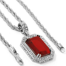 "Mens Silver Plated Red Cz Stone Cz Pendant Hip-Hop 30"" 4mm Rope Chain"