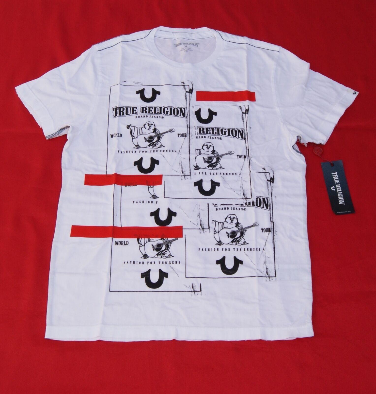 c254cca7b True Religion Men's Buddha Tape Crew Graphic Tee White T-shirt ...