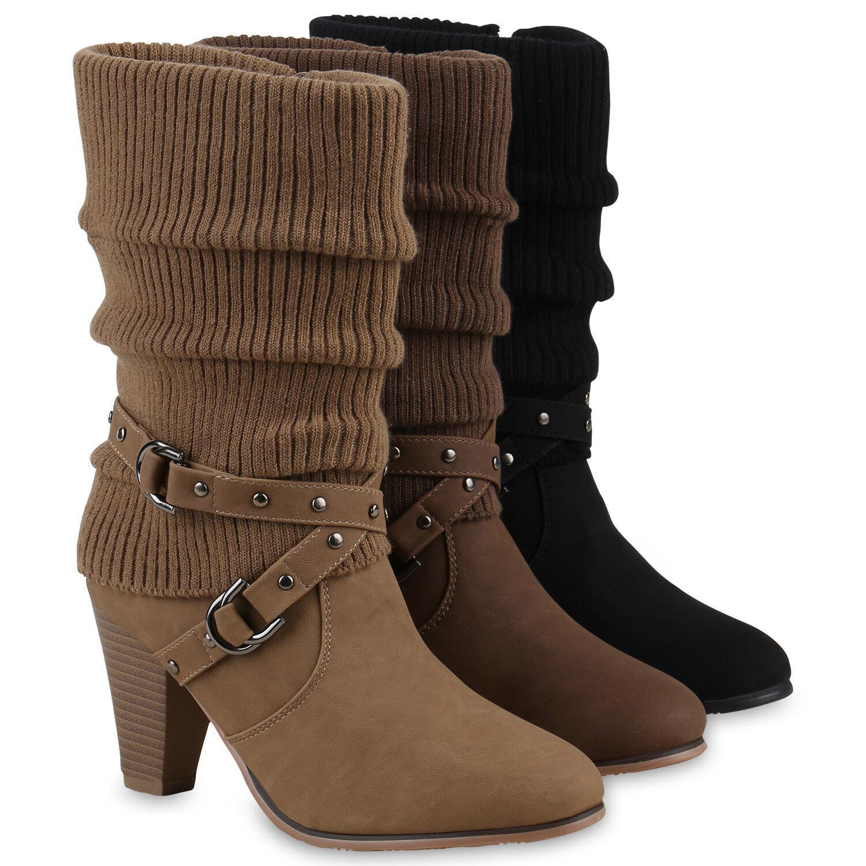 Damen Stiefeletten Stulpen Stiefel High Heels Boots 813358 Schuhe