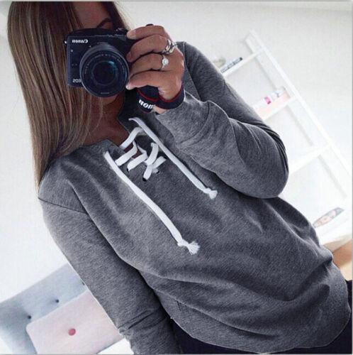 Womens Long Sleeve Sweatshirt Sweater Ladies Casual Pullover Hooded Hoodie Coat