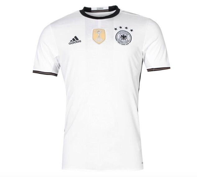 ADIDAS Germania DFB MAGLIA HOME EM 2016 tutte Taglia Nero Bianco NUOVO