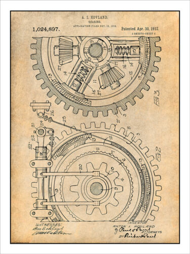 1910 Hovland Gearing Patent Print Art Drawing Poster