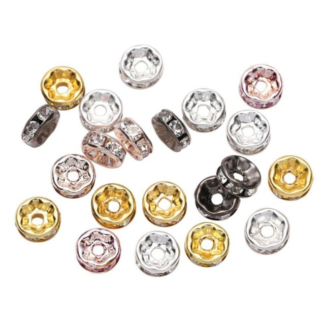 50Pcs Silver Plated Rondelles Spacer Beads Crystal Rhinestone Jewelry Making DIY