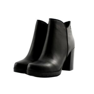 5b6652d9eec Details about Booties Ankle Boots Carmela Woman Black Leather Heel Rugged  Comfortable 10cm Zip