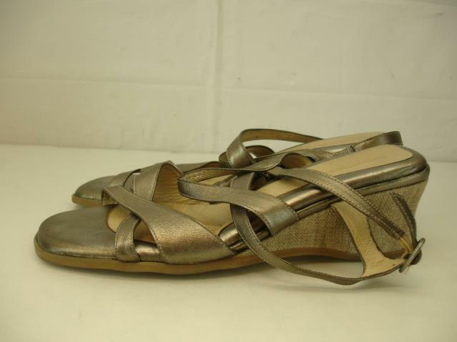 Damenschuhe 11 11.5 42 BeautiFeel Hailey Pewter Leder Wedge Heels Sandales Slingback