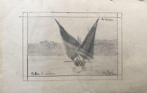 Dibujo-Ida-Humo-Lac-Leman-Ginebra-Lago-con-Barco-de-Pesca-Vela-Suiza-1911