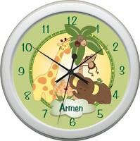 Personalized Jungle Babies Bedding Wall Clock Nursery Decor