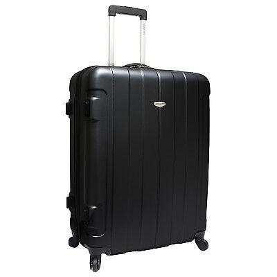 "Traveler's Choice Rome 29"" Black Lightweight Hardside Spinner Luggage TSA Lock"