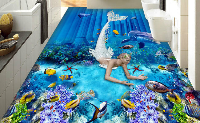 Mermaid Dophin Coral Fish Seabed  Floor Decals 3D Wallpaper Wall Mural