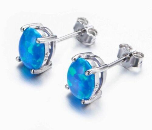 Beautiful Blue Fire Opal Stud Earrings 7mm Sterling Silver Filled Oval