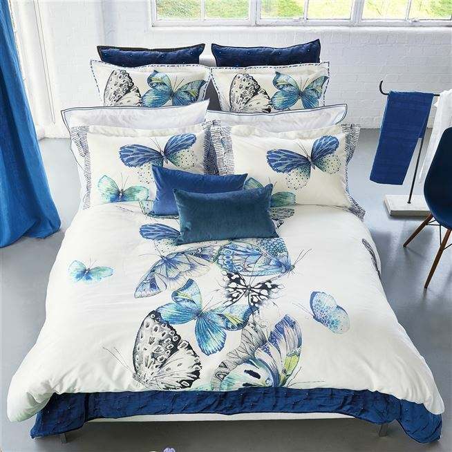 Designers Guild Papillons Cobalt European Sham - 26 x 26in - Set of 2