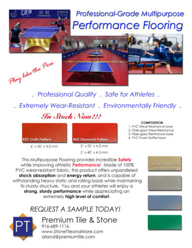 Tennis de table PVC Sol losange rouge ping pong