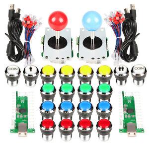2 Player Classic Arcade Stick DIY Kit PC Games 5V LED Push Buttons Raspberry Pi