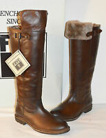 $578 Frye Mara Button Otk Dark Brown Italian Leather/shearling Boots Tall