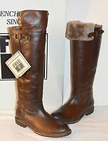 $578 Frye Mara Button Otk Dark Brown Italian Leather/shearling Boots Tall