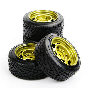 RC-4Pcs-Hard-Drift-Tires-amp-Wheel-12mm-Hex-For-HSP-HPI-1-10-On-Road-Model-Car