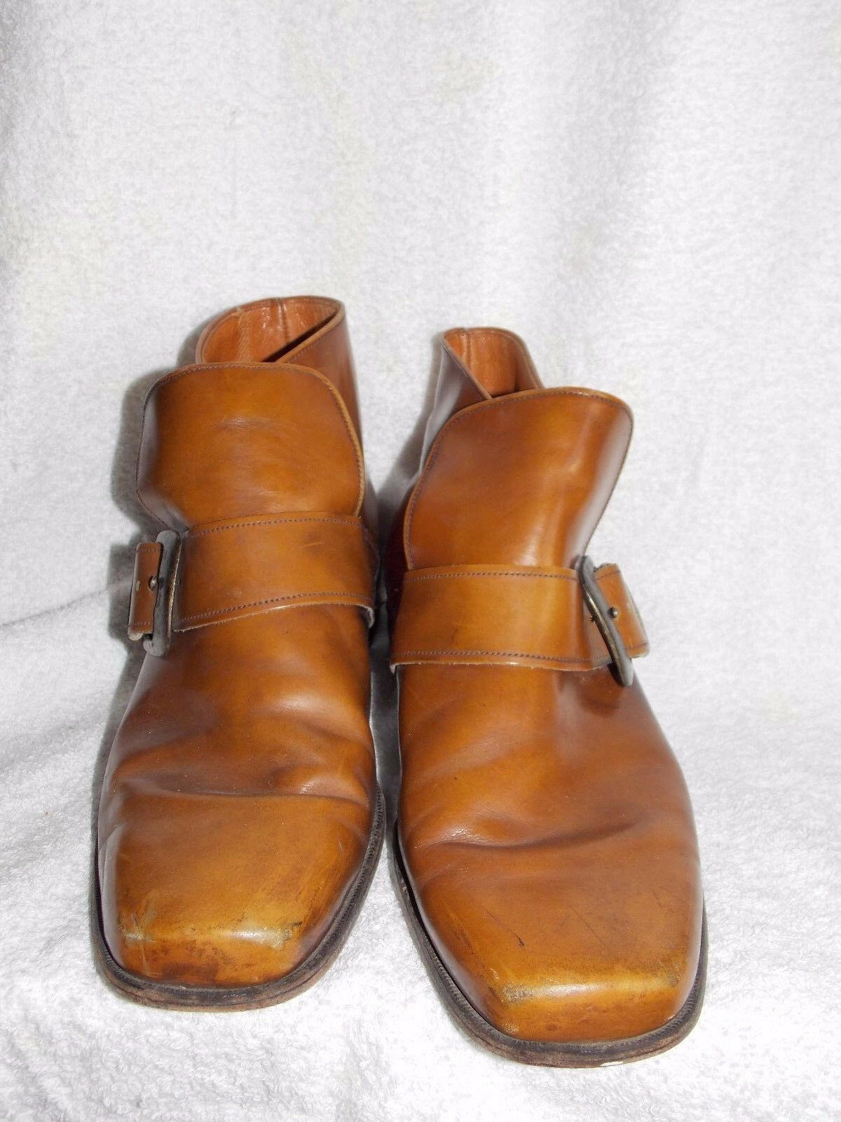 Connolly marrón ANKLE Buckle Slip On botas Men 8 Used