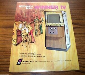 Midway WINNER Arcade Video Game flyer original