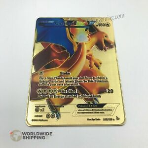 Carte-Pokemon-Gold-Dracaufeu-Charizard-Metal-Card-Fan-Made-EX-GX-100-106