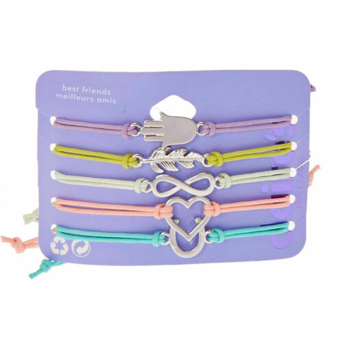 Claire/'s Girl/'s Silver Symbol Adjustable Friendship Bracelets 5 Pack Rainbow