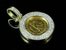24K Yellow Gold Dos Peso's 10k Border Genuine Diamond Pendant Charm .63Ct