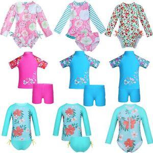 Baby-Girls-Long-Sleeve-UPF-50-Rash-Guard-Swimsuit-Bathing-Swimming-Beachwear