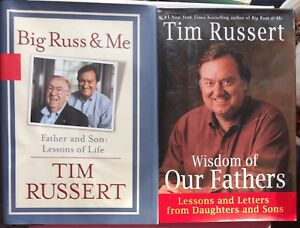 Tim-Russert-Hardcover-2-Book-Lot-Wisdom-of-Our-Fathers-Big-Russ-amp-Me-Buffalo-NBC