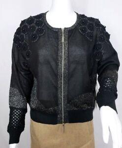 Crochet Pearl Combo con Black Large zip Womens Size Cardigan Ny Rondina IqY06Ow