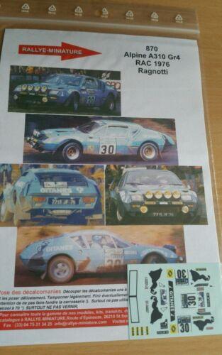 DECALS 1//24 REF 870 ALPINE RENAULT A310 JEAN RAGNOTTI RAC RALLY 1976 RALLYE WRC