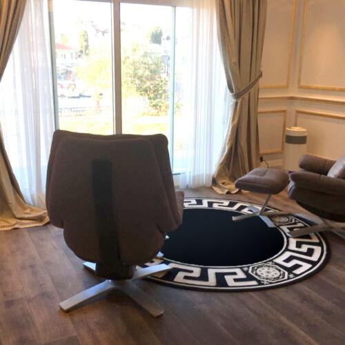 Carpet round Black ∅200cm K-Seide Meander Medusa Furniture Carpet Rug Versac