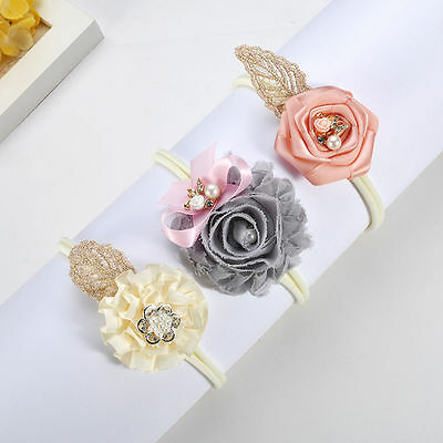 Fashion Style 3pcs/set Girls Baby Headband Toddler Infant Flower Hair Bow Band Head Piece New Wide Varieties Hair Accessories