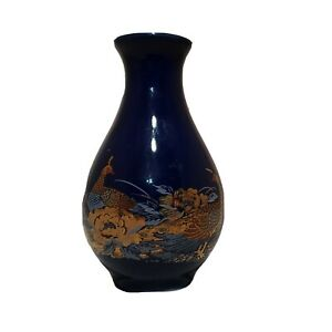 JAPANESE-COBALT-BLUE-ORIENTAL-FLORAL-amp-PEACOCKS-VASE-MINI-BUD-4-034-GOLD-TRIM-EUC