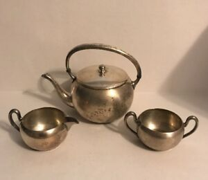 Vintage-Academy-Silver-On-Copper-Tea-Set-Creamer-Sugar-Bowl-Teapot