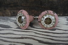 Shabby Chic Cast Iron Distressed Pink w/ Glass Clock Pattern Knob - Drawer Pull