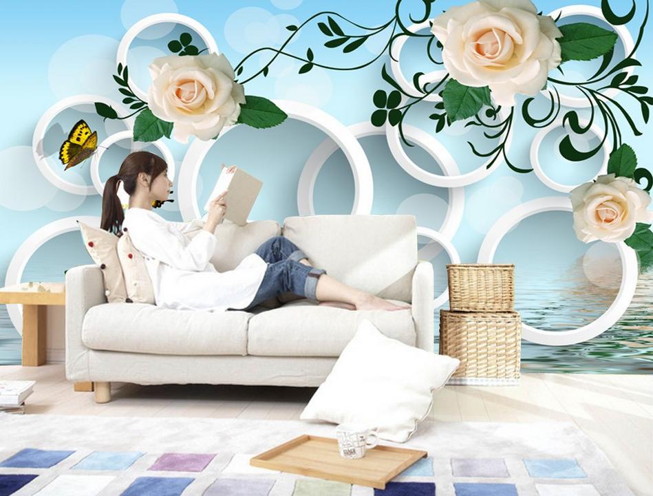 3D Flowers Foliage Water 83 Wallpaper Mural Paper Wall Print Wallpaper Murals UK