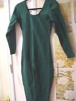 Hunter Green Sz Xl Cotton Dance Catsuit Long Sleeve Unitard Leotard W/ Legs