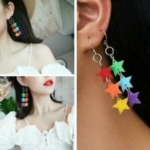 1-Paar-Pentagramm-Ohrringe-Frauen-stilvolle-lange-Quaste-Kette-Ohrstecker-M0D1