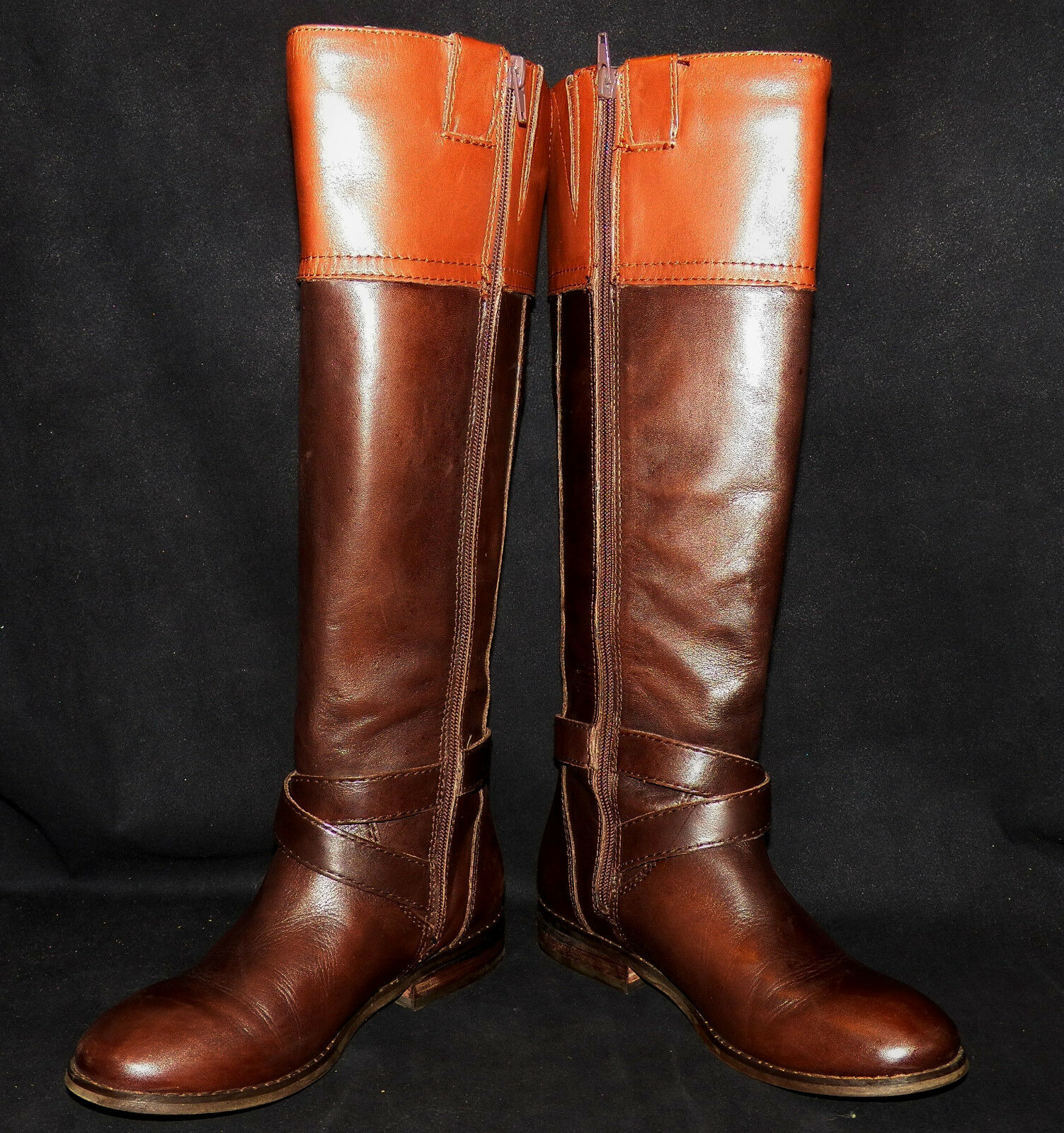 Marc Fisher Fine Leder Tall Riding Stiefel Anlosa Ankle Strap Coffee Bean Tan 7M